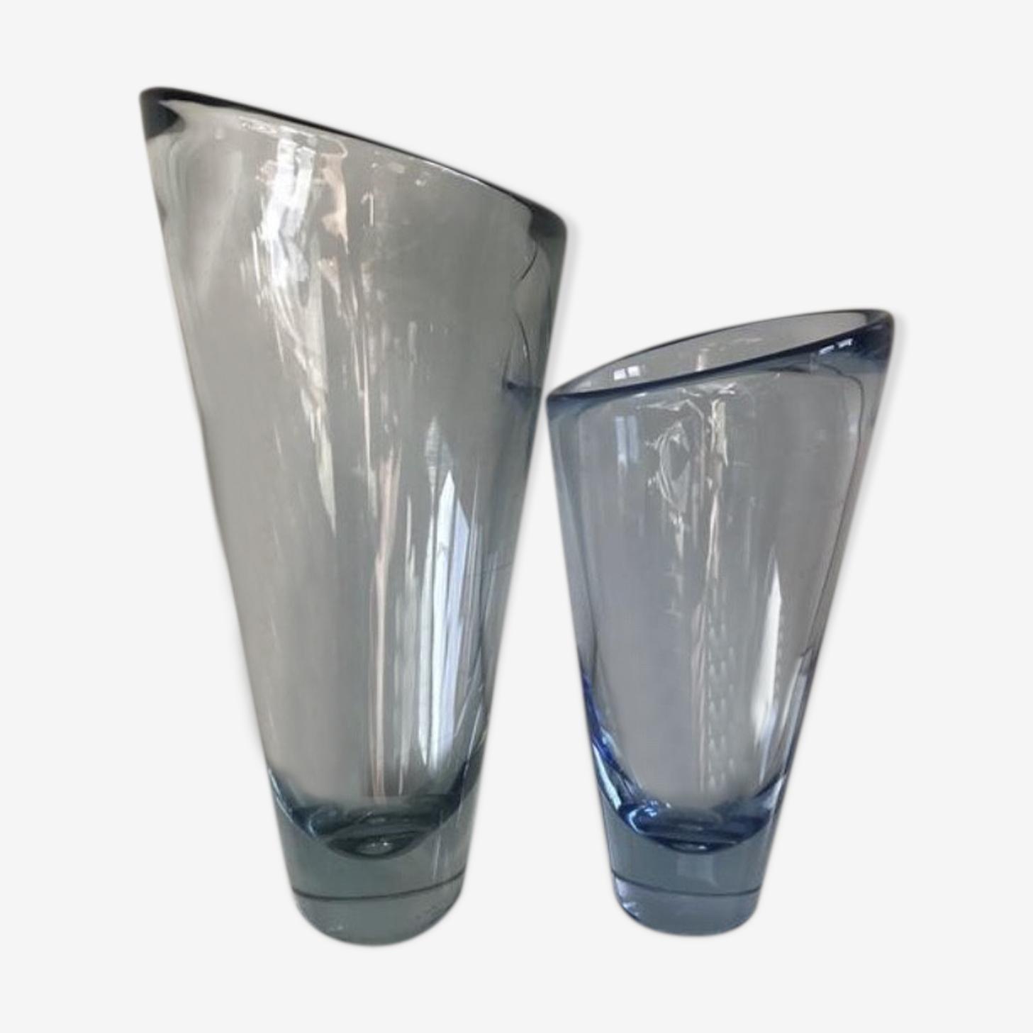 Holmegaard  set of 2 asymetrical vases  by Per Lutken