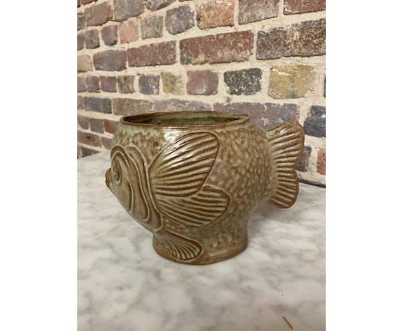 Vase céramique zoomorphe figurant un poisson