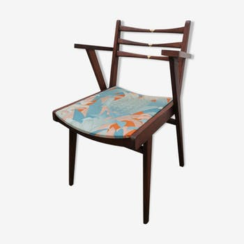 Chaise bois et or style scandinave motif tropical