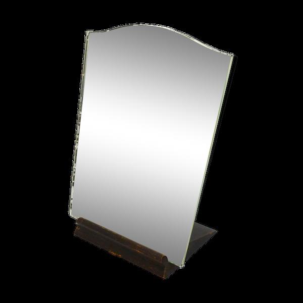Miroir ancien à poser sur socle bois 23x30cm