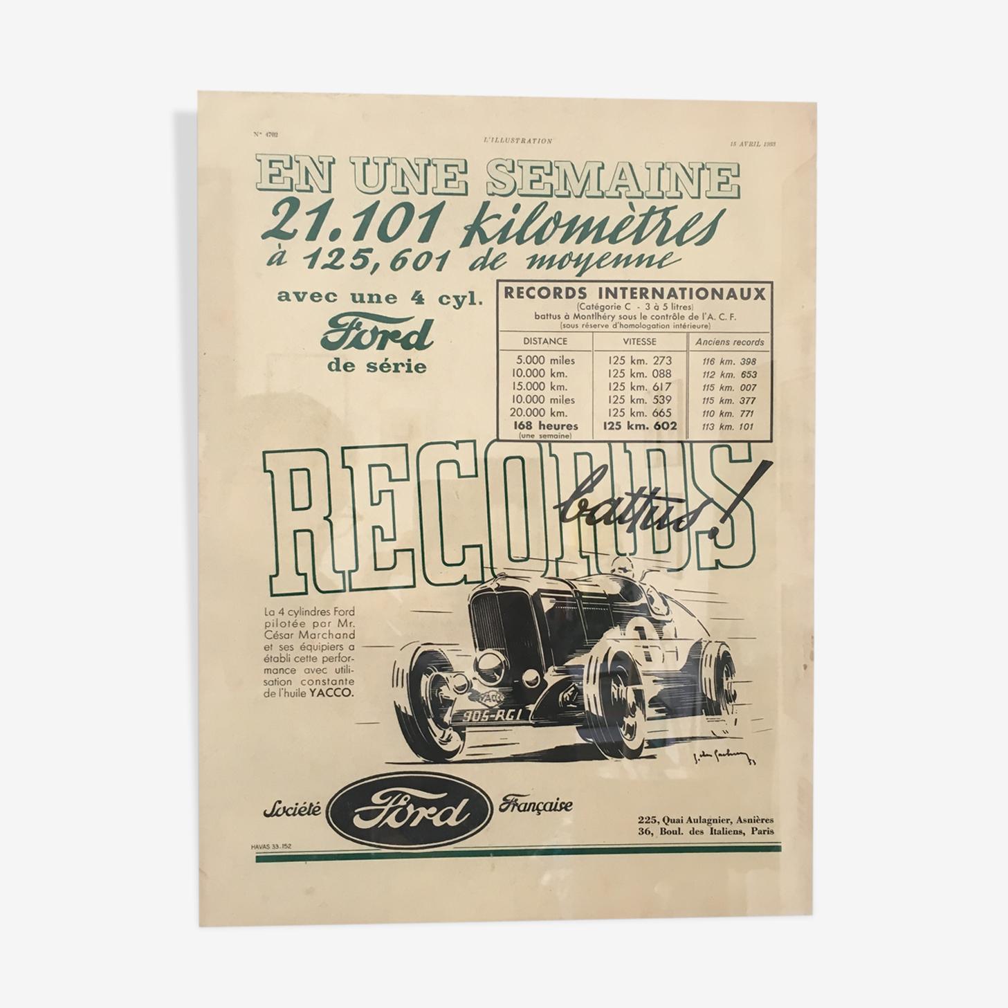Publicité ford des années 1933 par havas