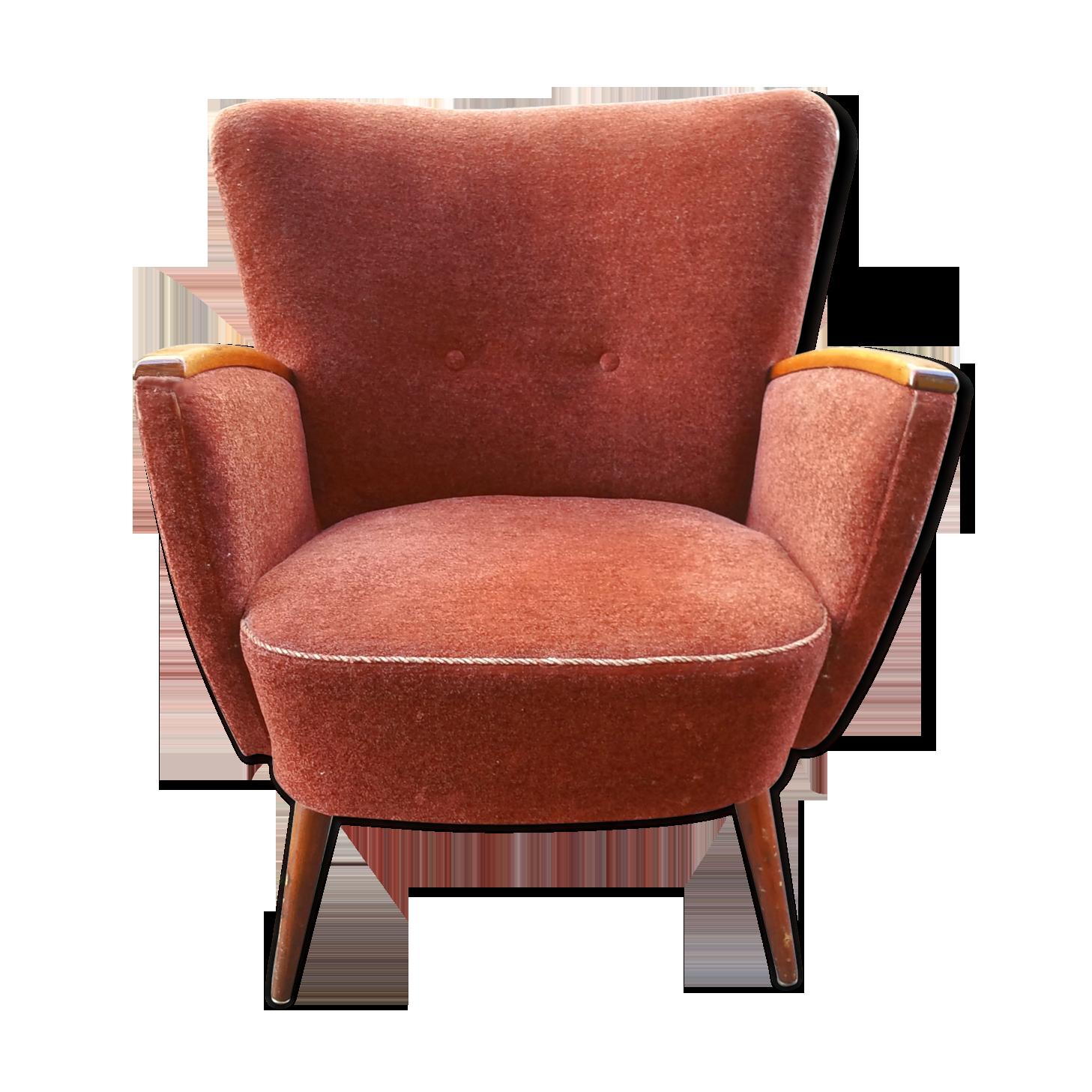 FAUTEUIL BOL RETRO ANN/ÉES 70 blanc//rouge fauteuil club