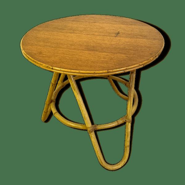 Table basse d\'appoint en rotin - rotin et osier - bois (Couleur) - bon état  - vintage - BP5KREVZ
