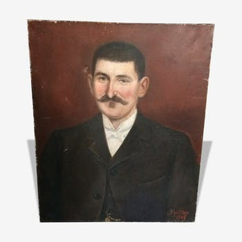 Portrait of man with moustache on Maroon background
