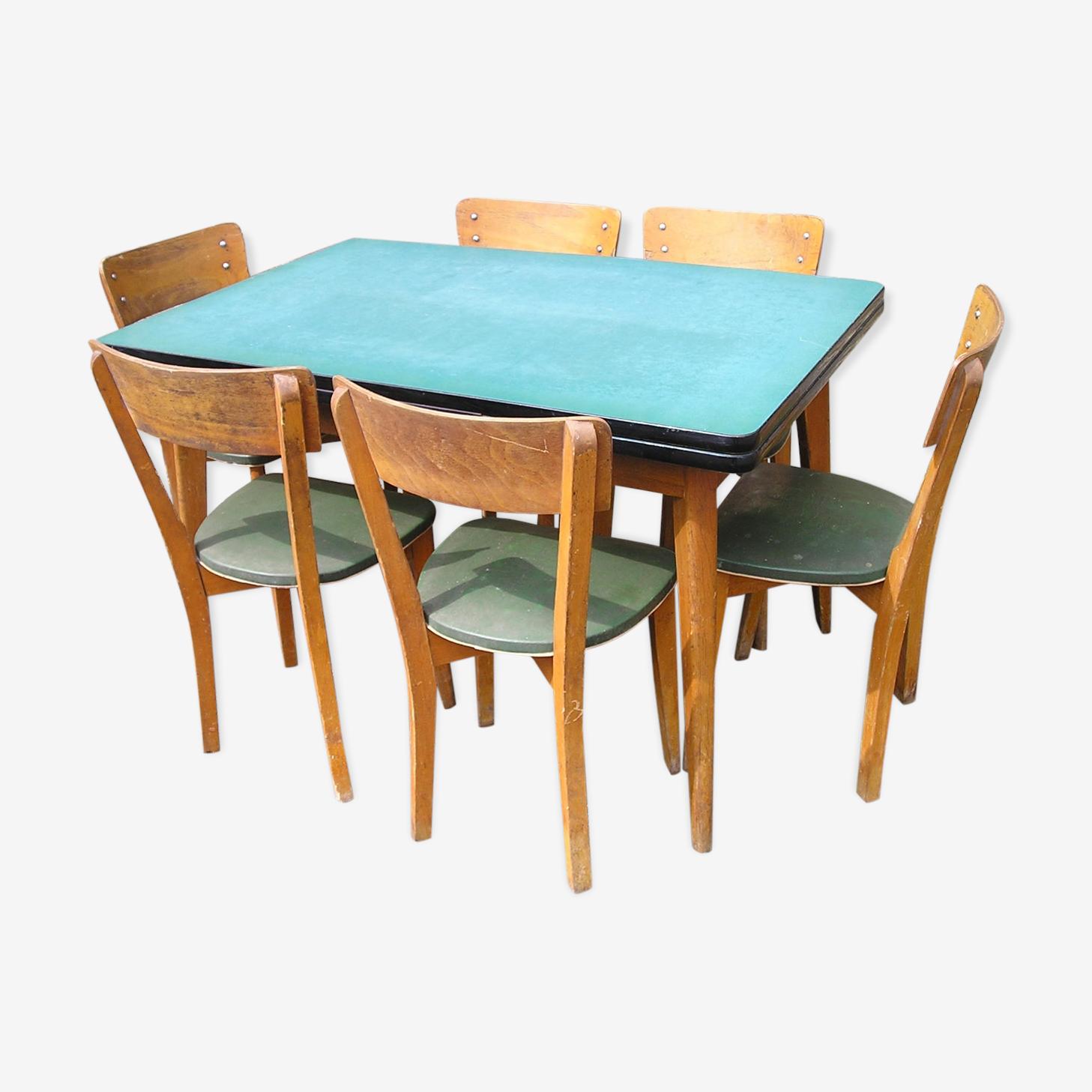 Ensemble salle à manger, table formica à l'italienne avec ses 6 chaises skai vert, années 50