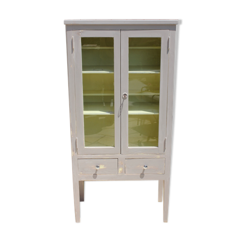 Armoire Vitree Ancienne Patinee Bibliotheque Wood Beige