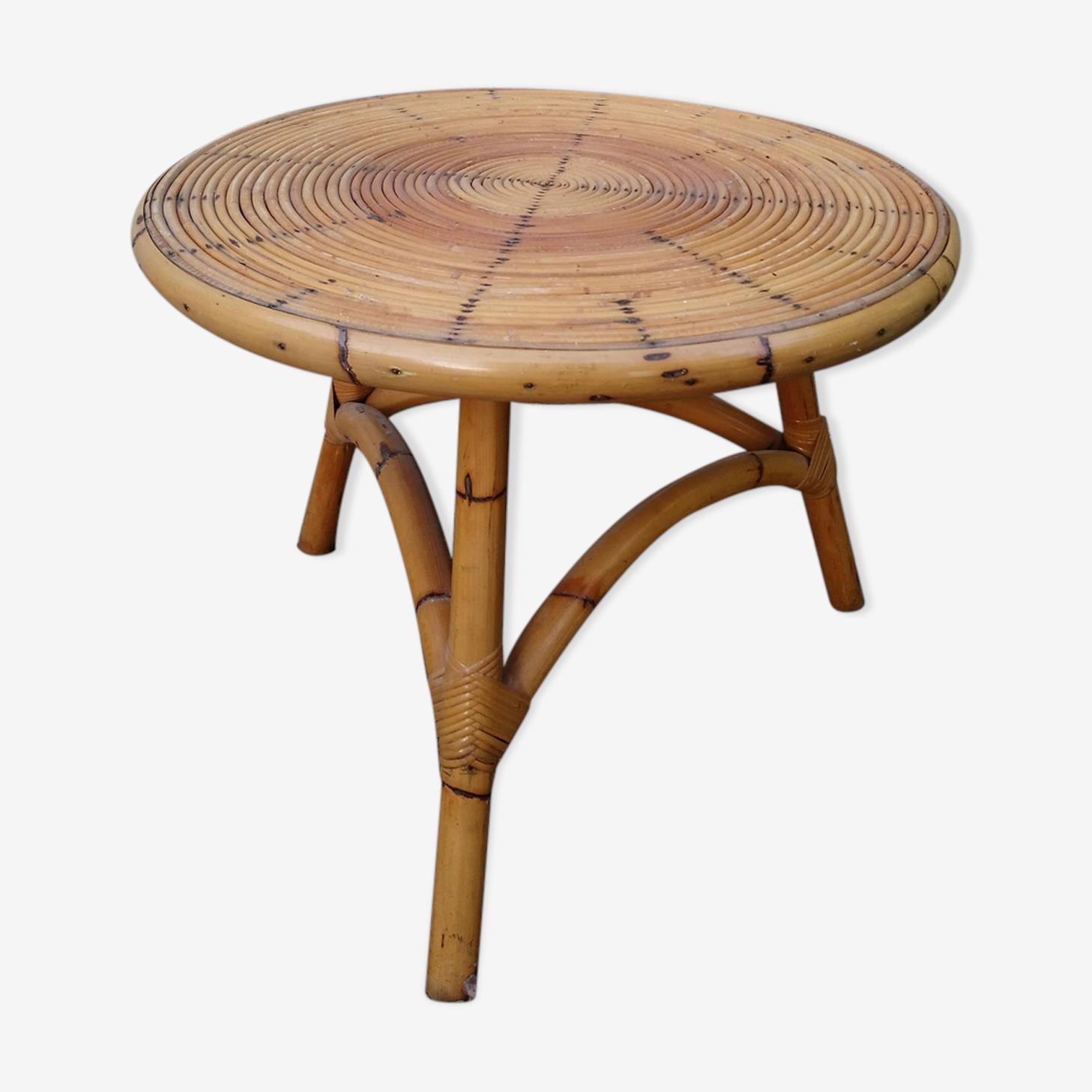 Diameter 62 vintage rattan coffee table