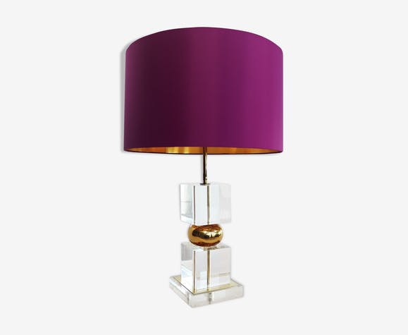 Midcentury lucite and brass table lamp with custom lampshade, 1970s