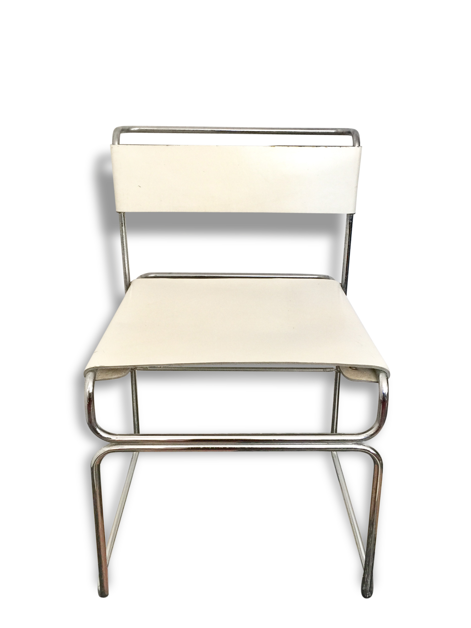 Fauteuil de bureau design chrome et cuir blanc leather