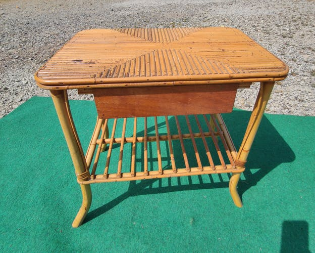 Table de chevet rotin bambou