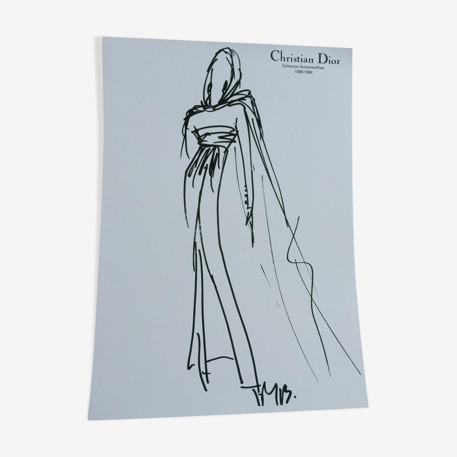 Christian dior: illustration de mode  vintage de presse des années 80