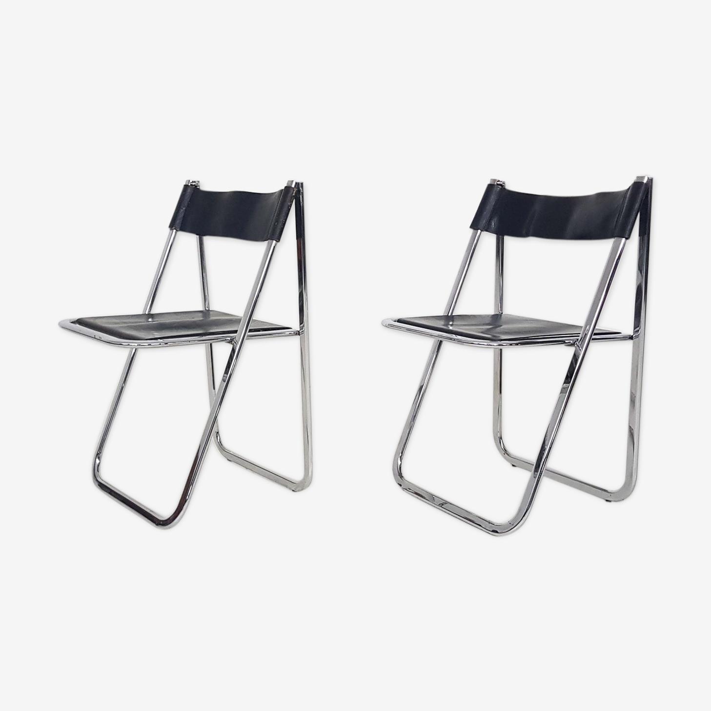 """Lot de 2 chaises pliantes en chrome et cuir """"Tamara"""" par Arben Italie"""