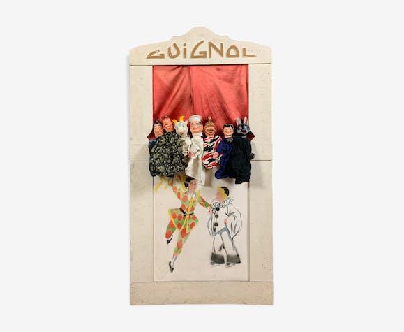Théâtre de guignol des années 40 avec 7 marionnettes a tête celuloide