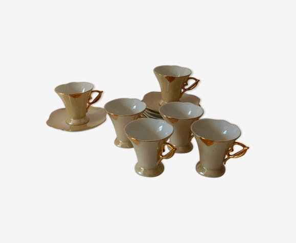 6 tasses à café nacrées vintage