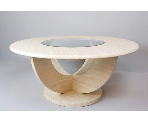 Table basse ronde en travertin et verre