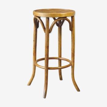 Wooden curved bistro stool 1950 Baumann