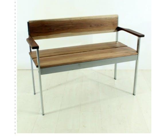 vintage walnut chrome bench