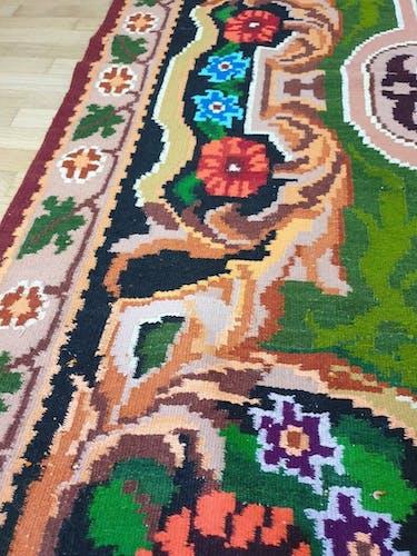 Tapis vintage floral tissé à la main Roumanie 244x165cm