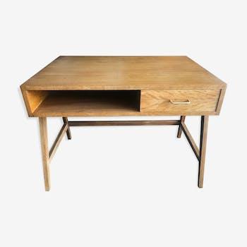 Vintage oak desk, 1960 compass feet