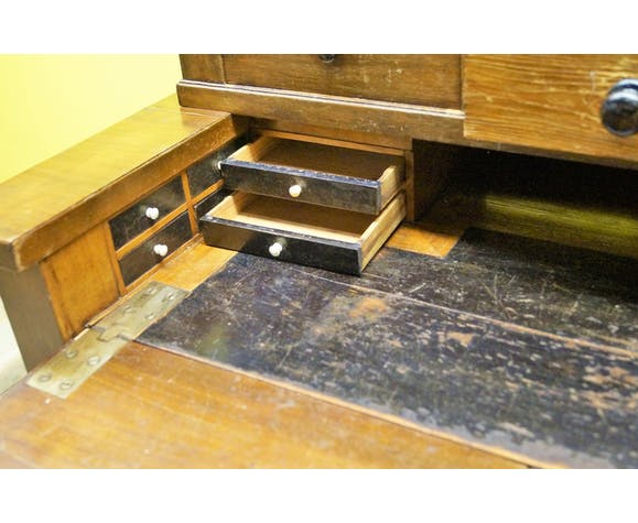 19th century oak secretary with hidden compartments