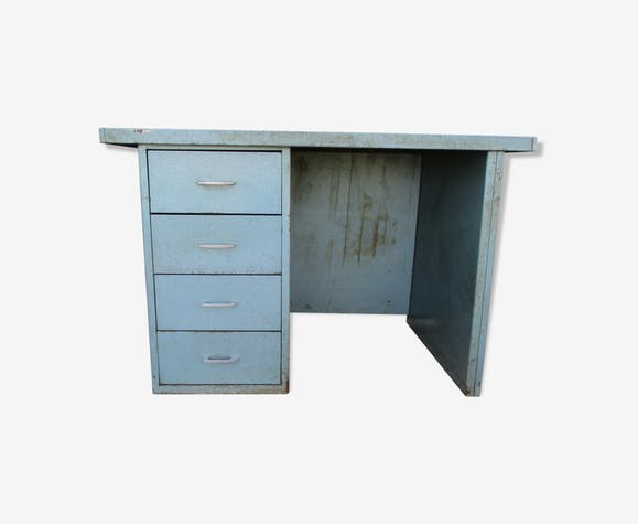 bureau m tal p t t 1960 fonctionnel m tal bleu industriel 6yjrego. Black Bedroom Furniture Sets. Home Design Ideas