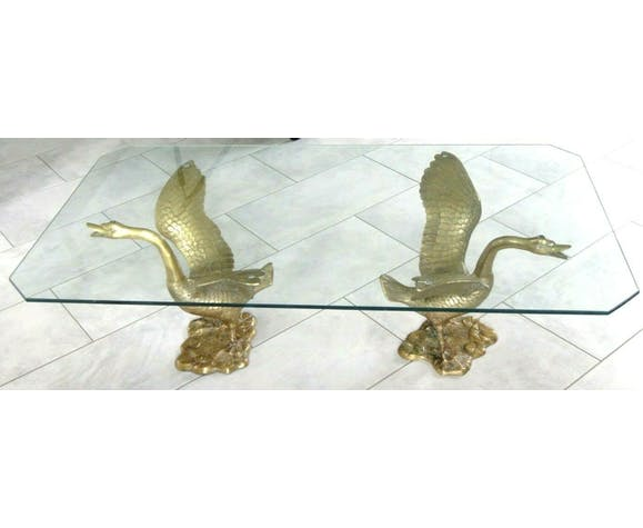 Table basse cygnes hollywood regency swan brass design 1960