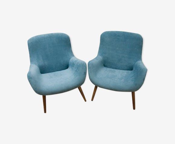 Set of 2 blue vintage danish armchairs, 1960