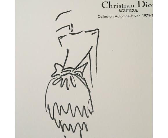 Illustration de mode de presse Christian Dior des années 80 en noir et blanc – collection automne - hiver  1979-1980