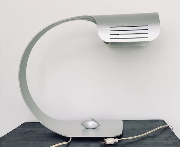 Brushed aluminum table lamp with pebble switch by Walter and Moretti 1970