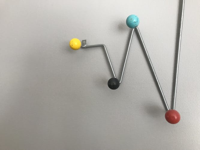 Patère wears vintage coats, aluminum and 9 multicolored wooden balls