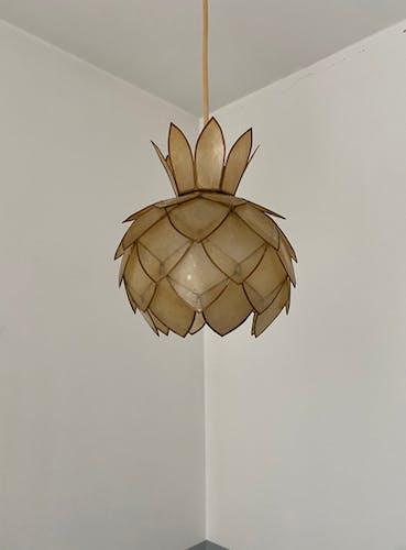 Suspension lotus en nacre et lation