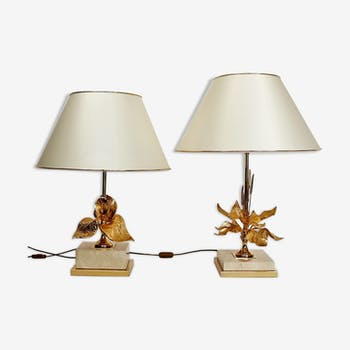 Set de deux lampes de table en travertin français et fleur en laiton, 1970
