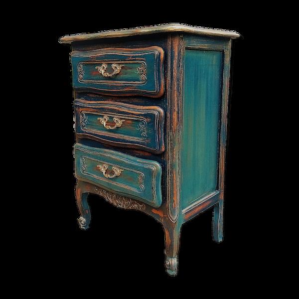 Commode dégradé bleuté cérusé style Louis XV