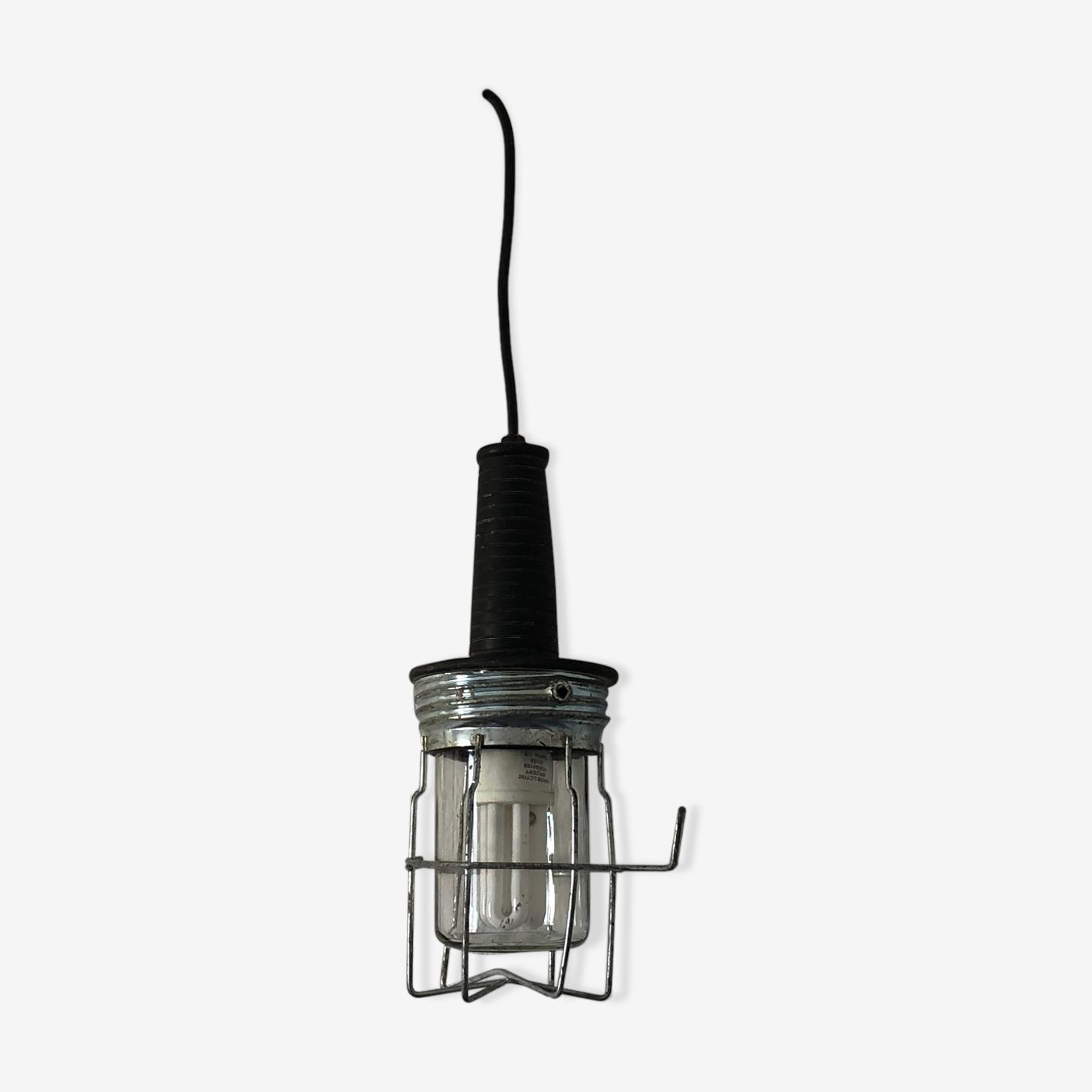 Lampe baladeuse verre noire vintage 1970