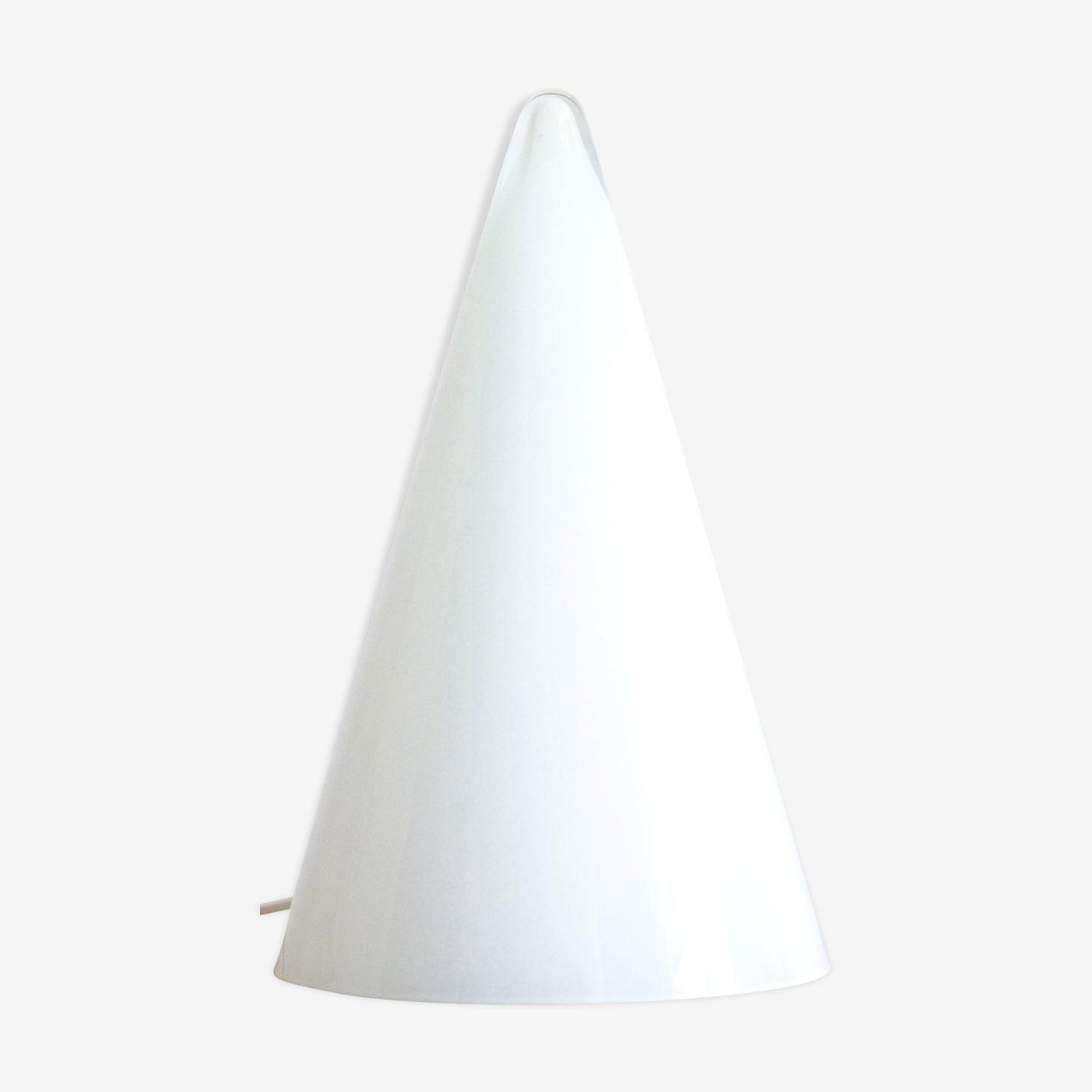 Lampe conique en verre opaque, SCE Made in France, années 80