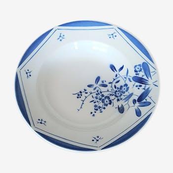 Plat rond vintage demi-porcelaine