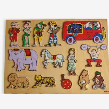 Puzzle en bois sur le thème du cirque vintage