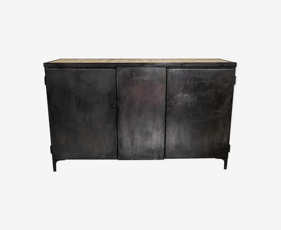 Buffet  style industriel en métal et bois