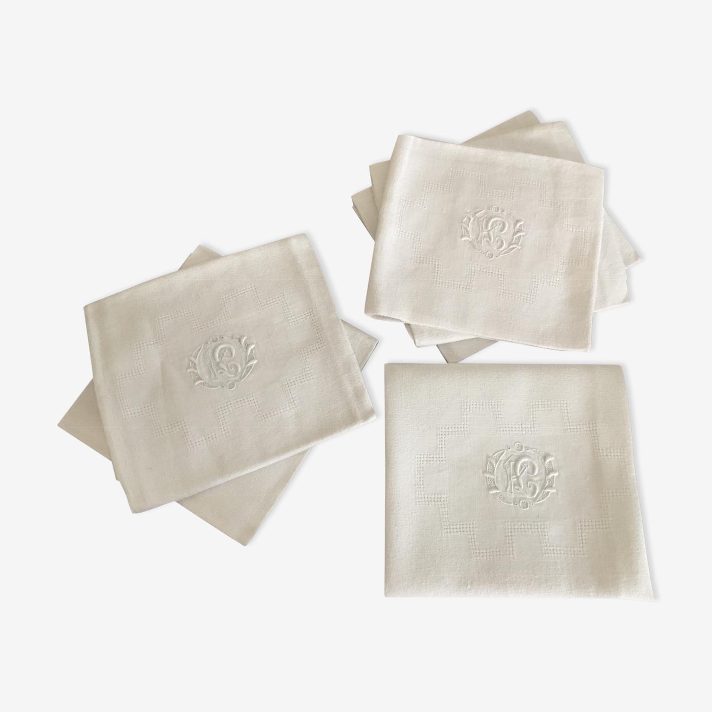6 serviettes de table monogrammées