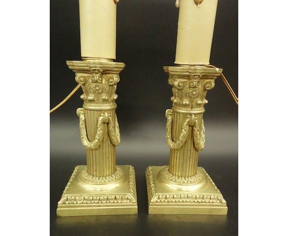 Paire de lampes bougeoirs, style Louis XVI, fin XIXe