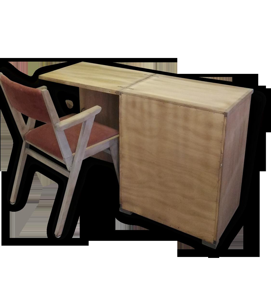 Meuble vintage bureau d appoint bois brut rétro bois matériau