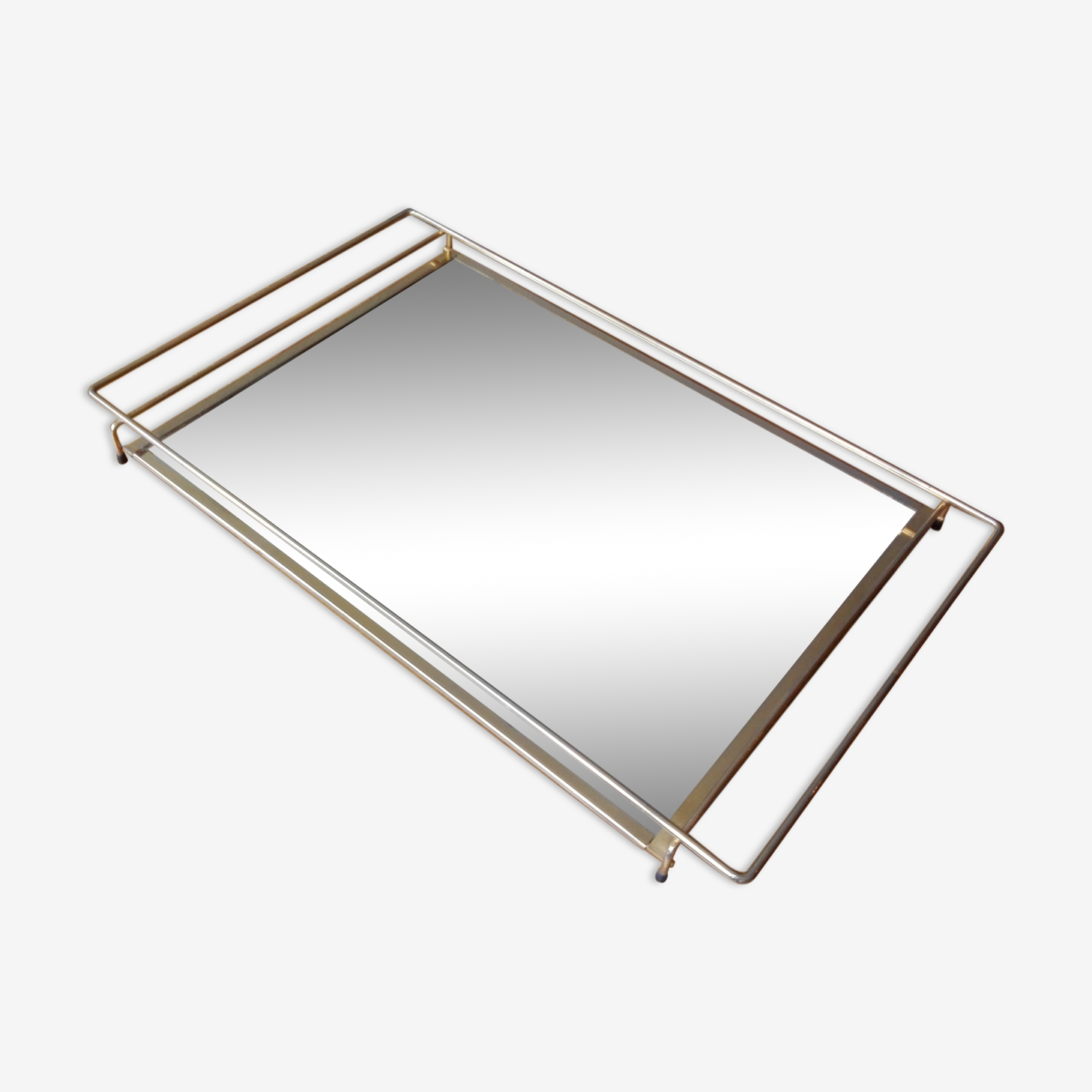 Plateau miroir doré années 60