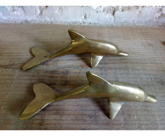 Couple de dauphins en laiton