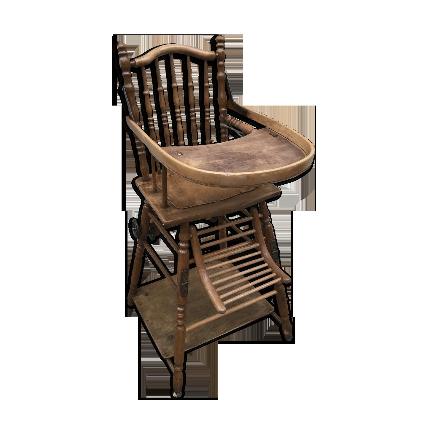 Chaise haute bébé baumann ancienne bois transformable en petit