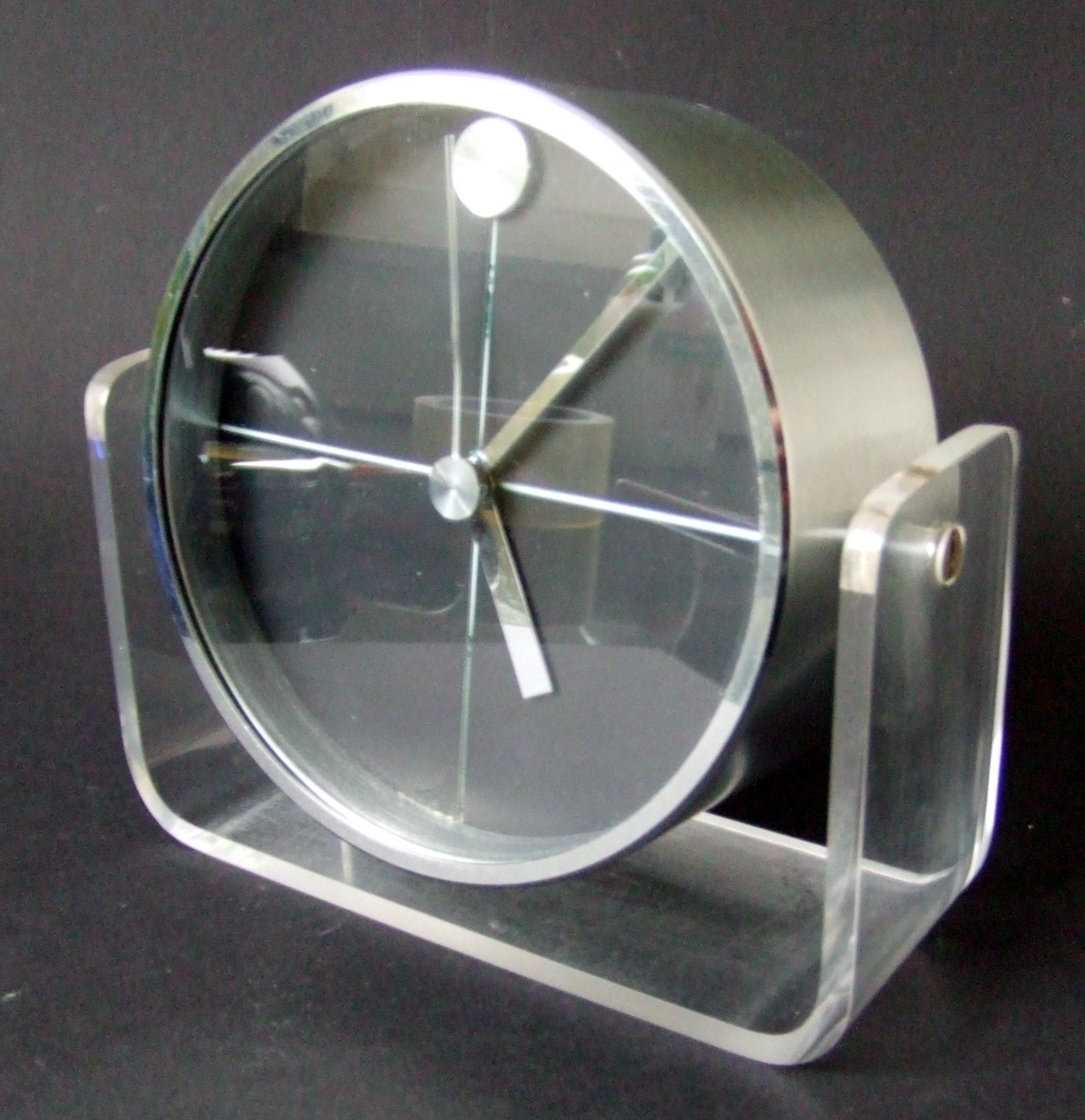 Modern Globe Circle Clock on Black Lucite Acrylic Base Hand Crafted