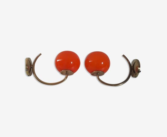 Pair of orange opaline wall light