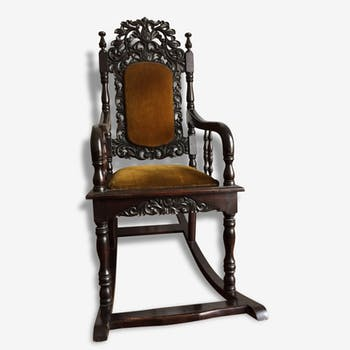 rocking chair bois mat riau noir classique 142350. Black Bedroom Furniture Sets. Home Design Ideas