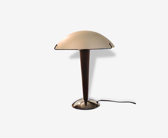 Lampe de table pieds bois chromé et opaline