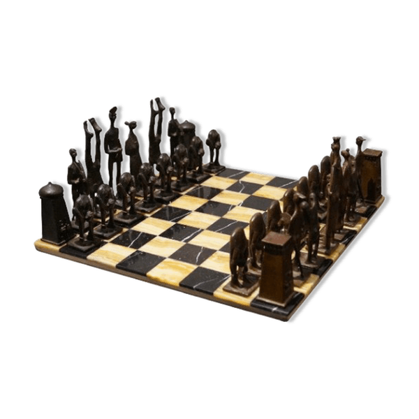 jeu d 39 chec en bronze 1978 marbre marron classique. Black Bedroom Furniture Sets. Home Design Ideas