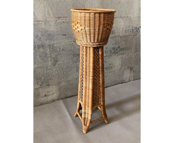 Rattan plant holder from the 1950s